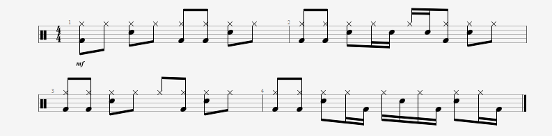 Embedding simple syncopated patterns in drumbeats