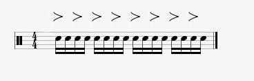 accented semiquavers on drums