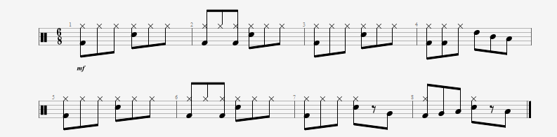 Beats with a three-based time signature and adding fills.gpx