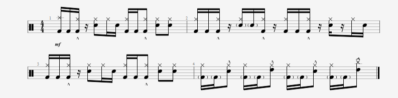 Moving your three stroke ruff to the bass drum