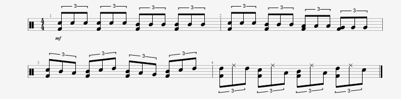 Play simple triplets on the drumset first